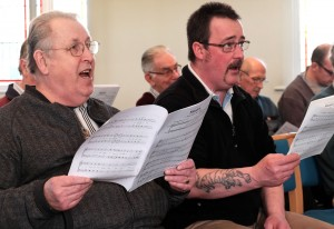 Learning the notes at Singing Day, Jan 2016